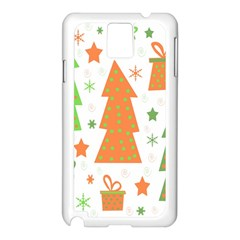 Christmas Design   Green And Orange Samsung Galaxy Note 3 N9005 Case (white) by Valentinaart