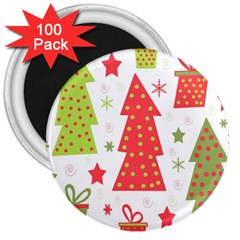 Christmas Design   Green And Red 3  Magnets (100 Pack) by Valentinaart