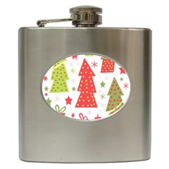 Christmas design - green and red Hip Flask (6 oz) by Valentinaart