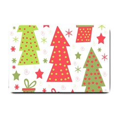Christmas Design   Green And Red Small Doormat  by Valentinaart