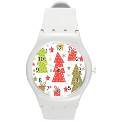 Christmas Design   Green And Red Round Plastic Sport Watch (m) by Valentinaart