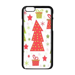 Christmas Design   Green And Red Apple Iphone 6/6s Black Enamel Case by Valentinaart