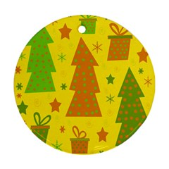 Christmas Design   Yellow Ornament (round)  by Valentinaart