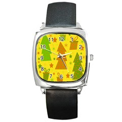 Christmas Design   Yellow Square Metal Watch by Valentinaart