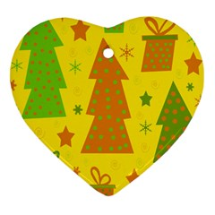 Christmas Design   Yellow Heart Ornament (2 Sides) by Valentinaart