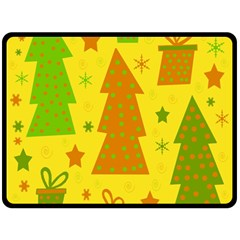 Christmas Design   Yellow Fleece Blanket (large)  by Valentinaart