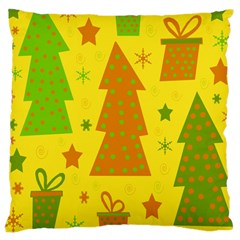 Christmas Design   Yellow Large Cushion Case (two Sides) by Valentinaart