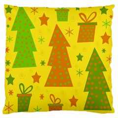 Christmas Design   Yellow Large Flano Cushion Case (one Side) by Valentinaart