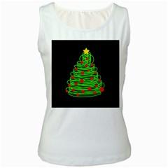 Christmas Tree Women s White Tank Top by Valentinaart