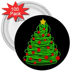 Christmas Tree 3  Buttons (100 Pack)  by Valentinaart
