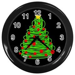 Christmas Tree Wall Clocks (black) by Valentinaart