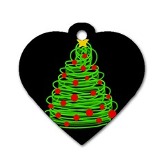 Christmas Tree Dog Tag Heart (one Side) by Valentinaart