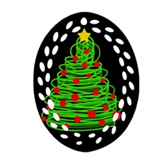Christmas Tree Oval Filigree Ornament (2 Side)  by Valentinaart