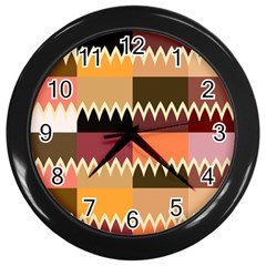 Chevrons In Squares                                                                                                 			wall Clock (black) by LalyLauraFLM