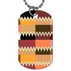 Chevrons In Squares                                                                                                 dog Tag (one Side) by LalyLauraFLM