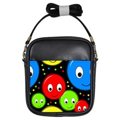 Smiley Faces Pattern Girls Sling Bags by Valentinaart
