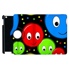 Smiley Faces Pattern Apple Ipad 2 Flip 360 Case by Valentinaart