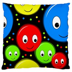 Smiley Faces Pattern Large Flano Cushion Case (one Side) by Valentinaart