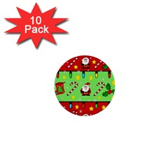Christmas Pattern   Green And Red 1  Mini Buttons (10 Pack)  by Valentinaart
