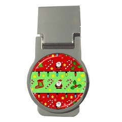 Christmas pattern - green and red Money Clips (Round)