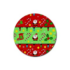 Christmas Pattern   Green And Red Rubber Coaster (round)  by Valentinaart