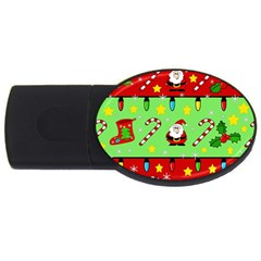Christmas Pattern   Green And Red Usb Flash Drive Oval (4 Gb)  by Valentinaart