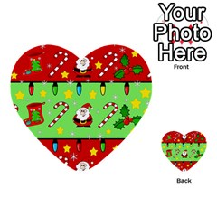 Christmas Pattern   Green And Red Multi Purpose Cards (heart)  by Valentinaart