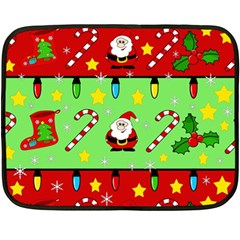 Christmas Pattern   Green And Red Fleece Blanket (mini) by Valentinaart