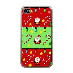 Christmas Pattern   Green And Red Apple Iphone 4 Case (clear) by Valentinaart