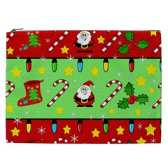 Christmas Pattern   Green And Red Cosmetic Bag (xxl)  by Valentinaart