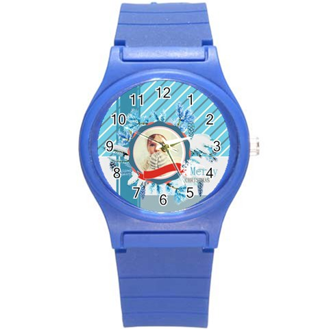 Xmas Merry Christmas By 2016   Round Plastic Sport Watch (s)   02pvriwpvbm6   Www Artscow Com Front