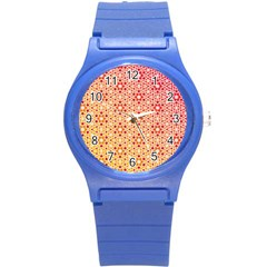 Orange Ombre Mosaic Pattern Round Plastic Sport Watch (s) by TanyaDraws