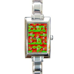 Snowflake Red And Green Pattern Rectangle Italian Charm Watch by Valentinaart