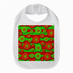 Snowflake Red And Green Pattern Bib by Valentinaart