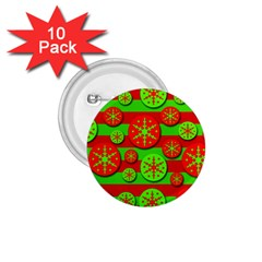 Snowflake red and green pattern 1.75  Buttons (10 pack) by Valentinaart