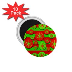 Snowflake Red And Green Pattern 1 75  Magnets (10 Pack)  by Valentinaart