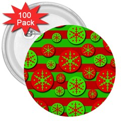 Snowflake Red And Green Pattern 3  Buttons (100 Pack)  by Valentinaart