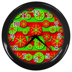Snowflake Red And Green Pattern Wall Clocks (black) by Valentinaart