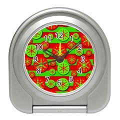 Snowflake Red And Green Pattern Travel Alarm Clocks by Valentinaart