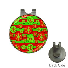 Snowflake Red And Green Pattern Hat Clips With Golf Markers by Valentinaart