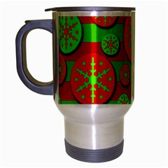 Snowflake Red And Green Pattern Travel Mug (silver Gray) by Valentinaart