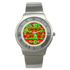 Snowflake Red And Green Pattern Stainless Steel Watch by Valentinaart