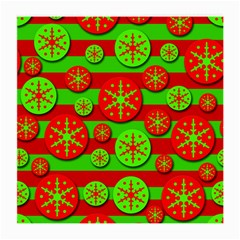 Snowflake Red And Green Pattern Medium Glasses Cloth by Valentinaart