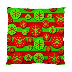 Snowflake Red And Green Pattern Standard Cushion Case (two Sides) by Valentinaart