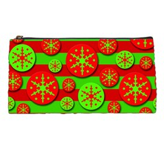Snowflake Red And Green Pattern Pencil Cases by Valentinaart