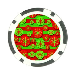 Snowflake red and green pattern Poker Chip Card Guards (10 pack)  by Valentinaart