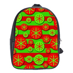 Snowflake Red And Green Pattern School Bags(large)  by Valentinaart