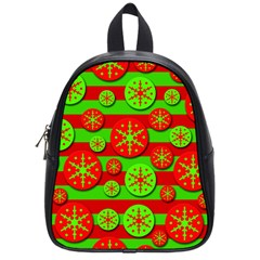 Snowflake Red And Green Pattern School Bags (small)  by Valentinaart