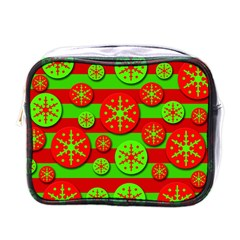 Snowflake Red And Green Pattern Mini Toiletries Bags by Valentinaart