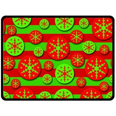 Snowflake Red And Green Pattern Fleece Blanket (large)  by Valentinaart